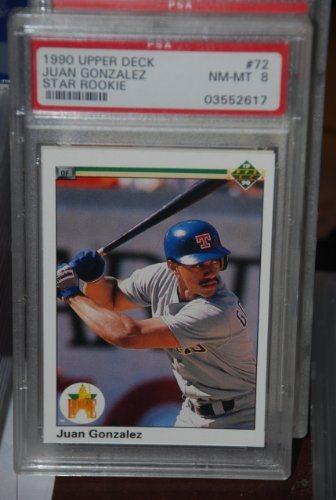 Psa 8 1990 Upper Deck Juan Gonzalez Rookie Card 72 Baseball Card Texas Rangers