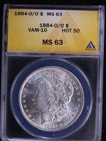 1884-O $1 VAM 10 O/O Morgan Silver Dollar ANACS MS63