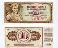 Yugoslavia 10 Dinara - Pick - 82-c Bank Note Money - 1968 Uncirculated