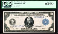 "Fr.947A 1914 $10 ""DALLAS"" FRN + PCGS GEM NEW UNCIRCULATED 65PPQ VERY RARE!!"