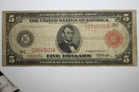 1914 Large Silver Federal Reserve Red Seal Note Grading Fine+ (JENA-265)