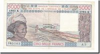 5000 Francs 1982 West African States Banknote, Km:708kf