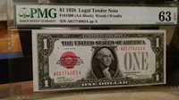 "1928 $1 RED SEAL ""Funny Back""Silver Certificate Fr# 1500 (AA Block) PMG 63 EPQ"