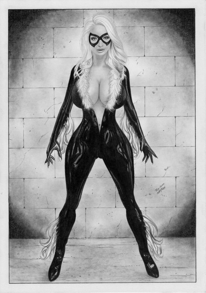 Marvel Comics Sexy Black Cat Original Art Latex Spider