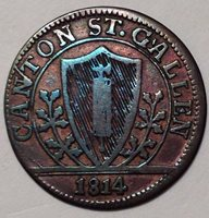 1814,Switzerland-Saint Gall,Swiss Cantons,1 Batzen,Without K Variety,Blue Patina