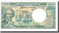 5000 Francs Undated French Pacific Territories Banknote, Km:3a