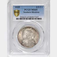 1935 Southern Rhodesia 1/2 Crown, PCGS MS 65, Finest @ NGC & PCGS, Superb