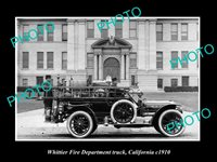 OLD 8x6 HISTORIC PHOTO OF WHITTIER FIRE DEPARTMENT TRUCK CALIFORNIA c1910