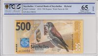 Seychellen 500 Rupees, Kestrel 2016 Pcgs 65 Opq