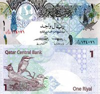 """Qatar 1 Riyal Pick #: 28 2008 - 2015 UNCOther p28 has two signature varieties. Please check with me if you need a specific sign set Light Blue/Green Designs; Crest; 3 native birds (Crested Lark, Eurasian Bee Eater; Lesser Sand Plover)Note 5 1/4"""" x 2 1/2"""" Asia and the Middle East Falcons Head"""