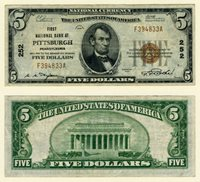 Pittsburgh PA $5 1929 T-1 National Bank Note Ch #252 First NB VF/XF