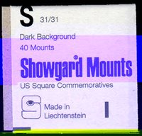"""Lot id: 5170 - Showgard Pre Cut Stamp Mounts """"S"""" Square Commemoratives 31/31 40 MountsMade in Liechtenstein. New Never Opened"""