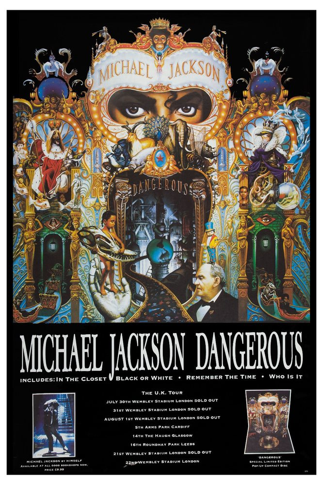 KING OF POP Michael Jackson DANGEROUS TOUR POSTER UK