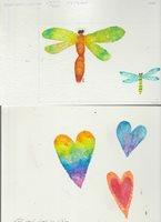 "VARIOUS Colorful Hearts & Dragonflies 2pcs 9x6.5"" Greeting Card Art #1666 8468"