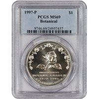 1997-P US Botanic Garden Commemorative BU Silver Dollar PCGS MS69