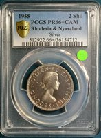 1955 Rhodesia & Nyasaland Silver 2 Shilling, PCGS PR66+Cameo - Spotless Beauty