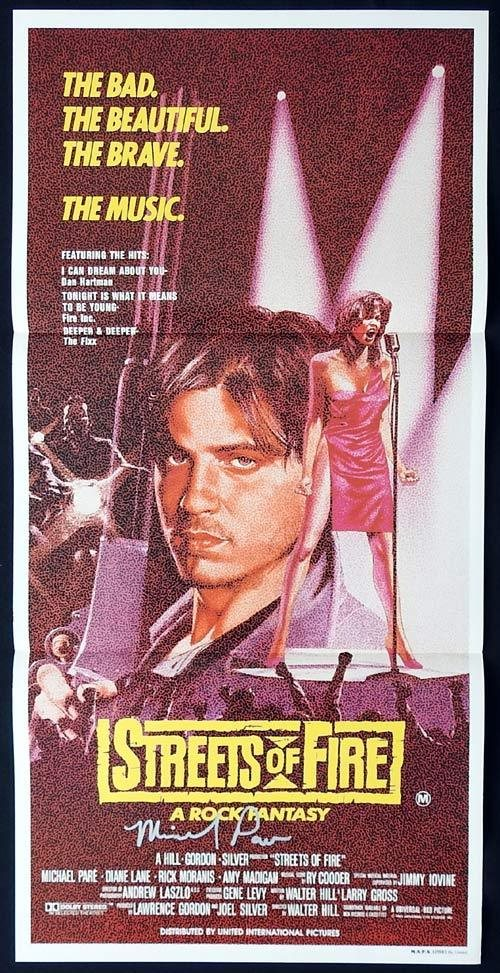 STREETS OF FIRE Original Daybill Movie poster AUTOGRAPHED by MICHAEL PARE
