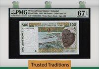 500 Francs 1991 West African States / Senegal Pmg 67 Epq Superb Gem