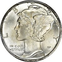 1944-D PCGS MS-67 FB CAC Mercury Dime 10C – CAC! – Full Bands!