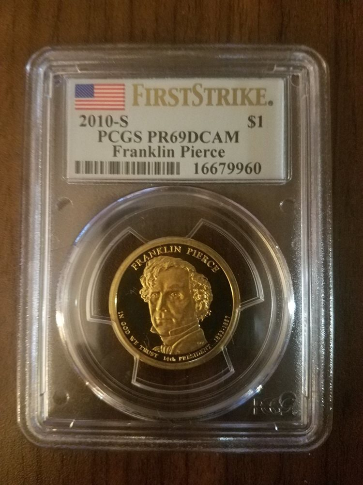 2010 S $1 Franklin Pierce Dollar PCGS PR70DCAM