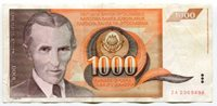 Yugoslavia P107 ZA 1990 1000 Dinaras Replacement Note Paper Money Currency