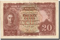 20 Cents Malaya Banknote, 1941-07-01, Km:9b