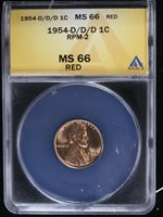 1954-D 1C RD Lincoln Cent ANACS MS66RD D/D/D RPM-2