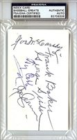 Ty Cobb Frank Homerun Baker Joe McCarthy George Sisler Joe Cronin and Pete Peterson Autographed Signed 3x5 Index Card - PSA/DNA CertifiedCUSTOM FRAME YOUR JERSEY