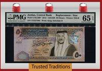 50 Dinars 2012 Pk Unl50b Jordan King Abdullah Ii Replacement Pmg 65 Epq Gem!