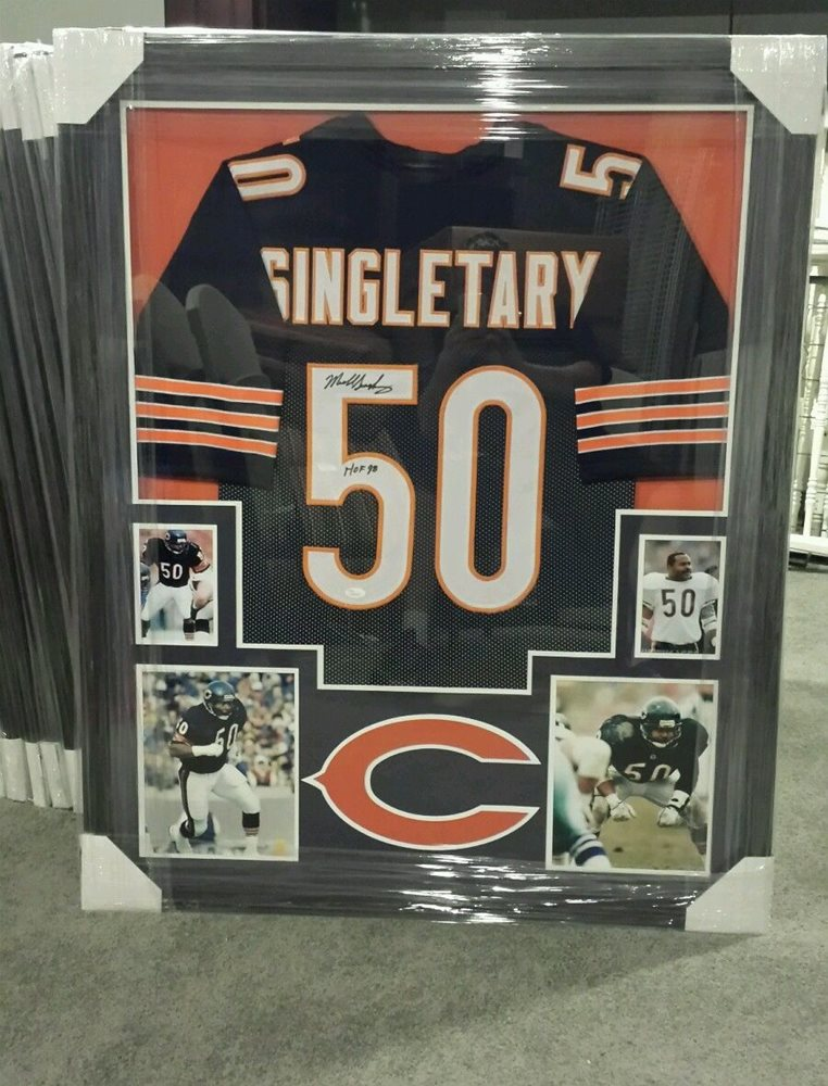 MIKE SINGLETARY HOF 98 CHICAGO BEARS AUTOGRAPHED JERSEY CUSTOM FRAMED  JSA  COA