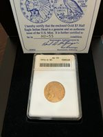 1914-S $5 INDIAN HEAD GOLD ANACS AU-55