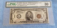 USA 5 DOLLAR 1934-A HAWAII WWII PMG 30 (LA BLOCK) EMERGENCY ISSUE