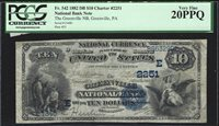 1882 10 Dollar National Bank Note Greenville PA CH 2251 PCGS 20 PPQ