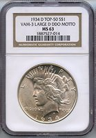 1934 D Peace Dollar MS-63 NGC DDO