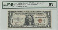 1935A $1 Hawaii WW2 PMG 67 SUPERB GEM UNC EPQ FR#2300 ZB Block
