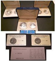 Greece Europe, 6 Silver PROOF Coins 3 of 25 ECU & 3 of 10 ECU1992-94 Certificate