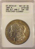 1880-P VAM 7 TOP 100 RARE Overdate Morgan Dollar Overdate ANACS EF ERROR
