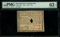 US Colonial Currency Massachusetts Fr# MA-285 May 5, 1780 20 Dollars PMG 63 EPQ