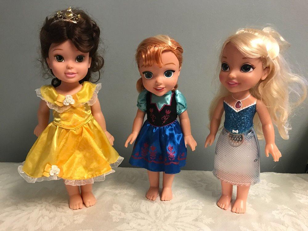 My First Disney Princess Toddler Doll Lot Belle Anna Elsa Beauty Light Up