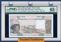 5000 Francs 1990 West African States / Ivory Coast Pmg 65 Epq Gem