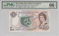 10 Pounds Isle Of Man P 44a Nd1998 Pmg 66 Epq