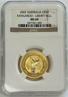 2002 GOLD AUSTRALIA $50 KANGAROO LIBERTY BELL PRIVY MARK COIN NGC MINT STATE 69