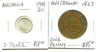 1927 - 1949 - Australia - 2 Coin Lot - Diff. Values - Very Nice Coin !!!