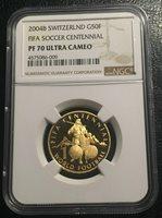 Switzerland 50 Francs 2004 Gold NGC PF70UC FIFA