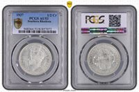 SOUTHERN RHODESIA - SILVER 1/2 CROWN COIN 1937 YEAR KM#13 GEORGE VI PCGS AU53