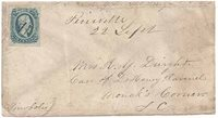 """CSA #11 (AD) (4-Margin) Pen-Canceled with the matching manuscript """"Pineville (SC) 22 Sept"""" at top center. Addressed to Mrs R. Y. Dwight Care of Dr. Henry Ravenel, Monck's Corner SC. Endorsed at the top """"R. Y. D. Asst Surg PACS (Provisional Army of the Confederate States)."""" Period manuscript at lower left """"Pinopolis."""" Richard Yeadon Dwight (1837-1919) initially served in the ranks as a Private and then a Lieutenant in Holcombe's Legion and the 1st SC Infbefore being appointed Asst Surgeon in Con"""