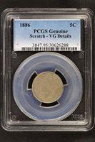 1886 Liberty V Nickel PCGS VG Details Scratch -136206