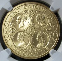 "1976 GOLD TURKS & CAICOS ISLANDS 100 CROWNS NGC MINT STATE 68 ONLY 250 MINTED ""FOUR AGES OF VICTORIA"""