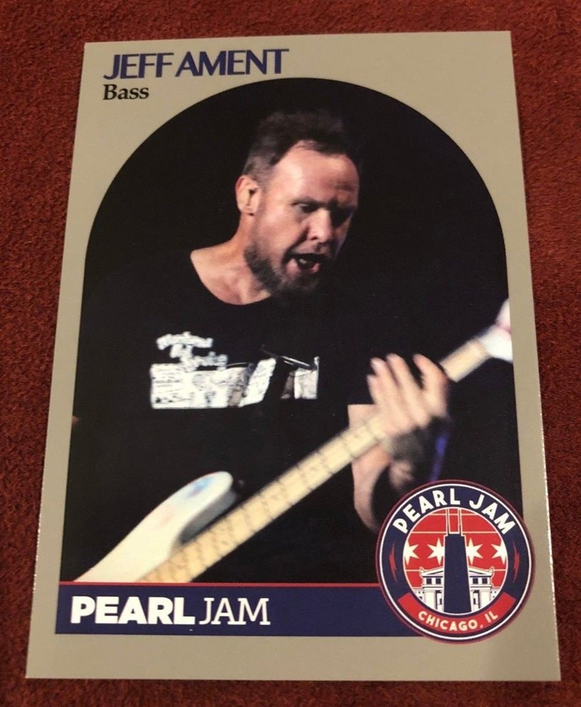 Pearl Jam Chicago Baseball Card Jeff Ament 7 Open 2018 Wrigley Away Shows