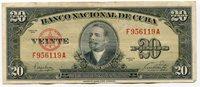 Cuba-RARE Circulated 20 Pesos note in Fine Condition dated 1949